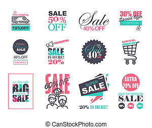 Set of Flat Design Sale Stickers Templates. Trendy style for...