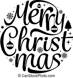 Merry Christmas text free hand design isolated on white background. Vector illustration.