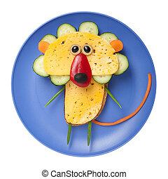 queso, hecho,  bread, placa, vegetales, león
