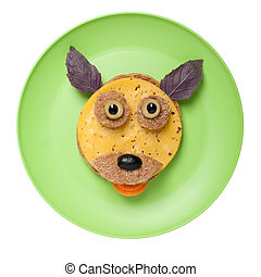divertido, hecho, placa, queso, perro,  bread