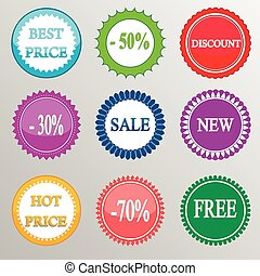 Collection of discount labels. Vector illustration