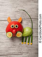 tomate, hecho, gato, madera, verde, rojo