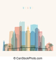 Miami skyline poster - Transparent styled Miami state...