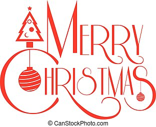 Merry Christmas text art red color vector illustration. Use...