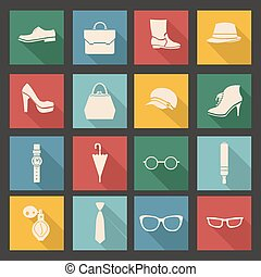 vector accessories icon set- illustration - vector...