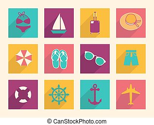 Travel and Vacation vector flat icons