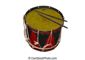 Antique black red tin drum