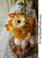 autumn still life flowers and candles - Autumn still-life in...
