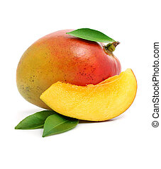 fresh mango fruit with cut and green leafs isolated on white...