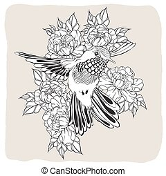 Hand drawn flying humming bird with peony flower. Vector...