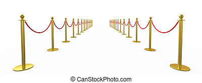Golden fence, stanchion with red barrier rope