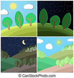 Day and Night on a Clearing in the Forest