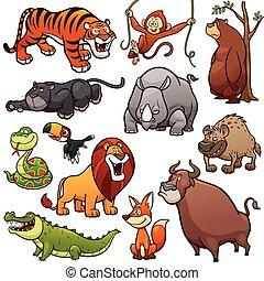 Wild Animals - Vector illustration of Cartoon Wild Animals...