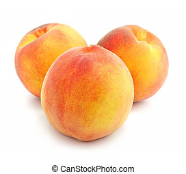 ripe peach fruits isolated