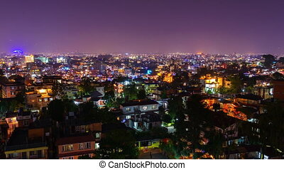 Timelapse of Kathmandu illuminated for Tihar festival, Nepal