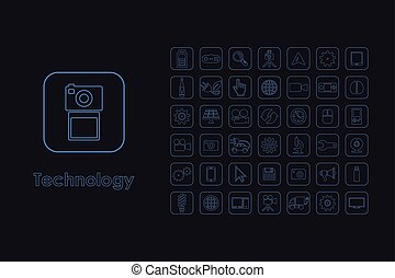 Set of technology simple icons - It is a set of technology...