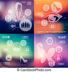 shopping infographic with unfocused background