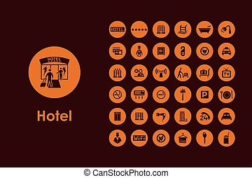 Set of hotel simple icons - It is a set of hotel simple web...