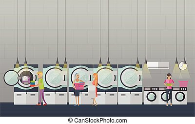 People in self-service laundry vector poster. Room interior banner