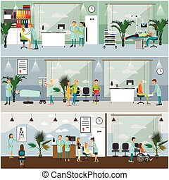 Horizontal vector banners with doctors and hospital...
