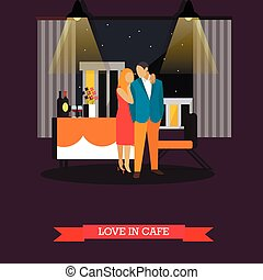 Celebrating romantic couple in restaurant. Vector illustration in flat style