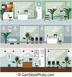 Horizontal vector banners with hospital interiors. Medicine...