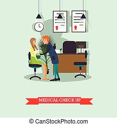 Doctor conduct patient medical check up. Vector illustration...