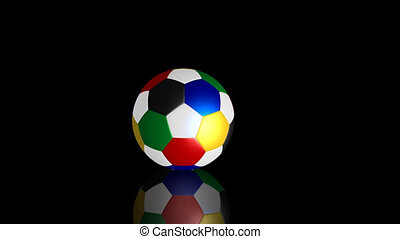 Bouncing multicolored soccer ball - Bouncing and rolling on...