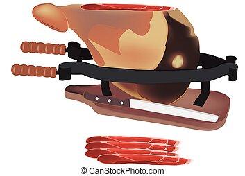 ham on cutting board