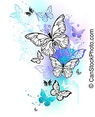 Flying butterflies watercolor