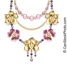Necklace with orchids