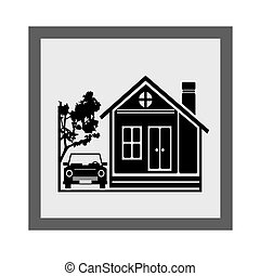 Beauty Home With Car Icon