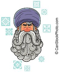 Turban - Cartoon portrait of man with turban and big beard.
