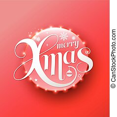 Merry Xmas white lettering on red circle. Modern calligraphy...
