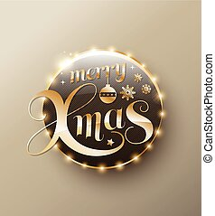 Merry Xmas gold lettering circle. Modern calligraphy 3D...