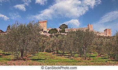 Castiglione del Lago, Perugia, Umbria, Italy: landscape with...