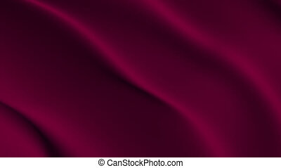 Abstract dark red cloth animation - Fabric blown about on...