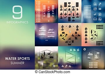 water sports infographic with unfocused background - water...