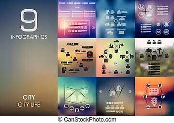 city infographic with unfocused background - city vector...