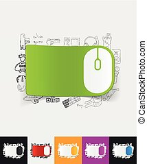 mouse paper sticker with hand drawn elements - hand drawn...