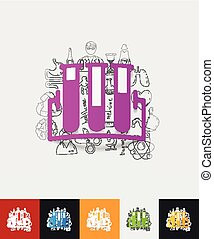 tube paper sticker with hand drawn elements - hand drawn...