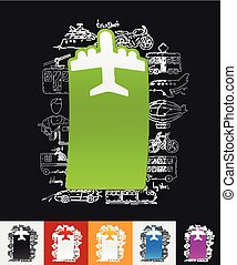 plane paper sticker with hand drawn elements - hand drawn...