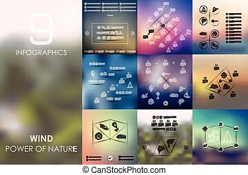 wind infographic with unfocused background - wind vector...