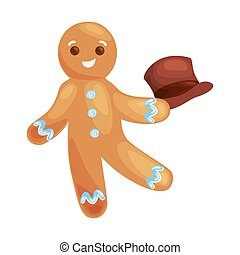 christmas cookies gingerbread man decorated with icing...