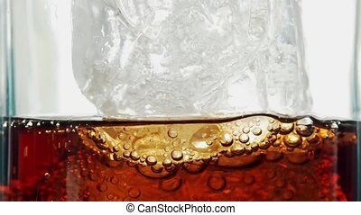 Pouring fresh cold cola - Close up of pouring a fresh cold...