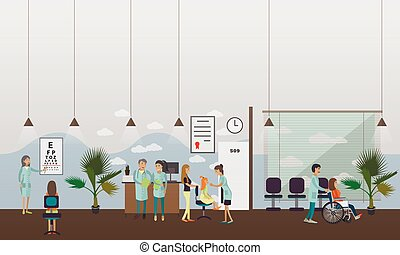 Horizontal vector banner with doctors and hospital...
