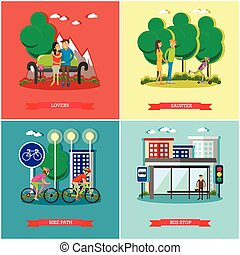 People in park concept banners vector set. Time with kids and friends.