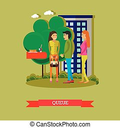 People stay and talk in queue to buy food in street cafe. Vector illustration on flat style