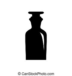 Old retro bottle icon.
