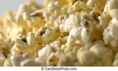 Pile of popcorn. Macro dolly video